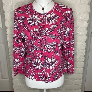 Rafaella Style Pink And White Floral Cardigan M